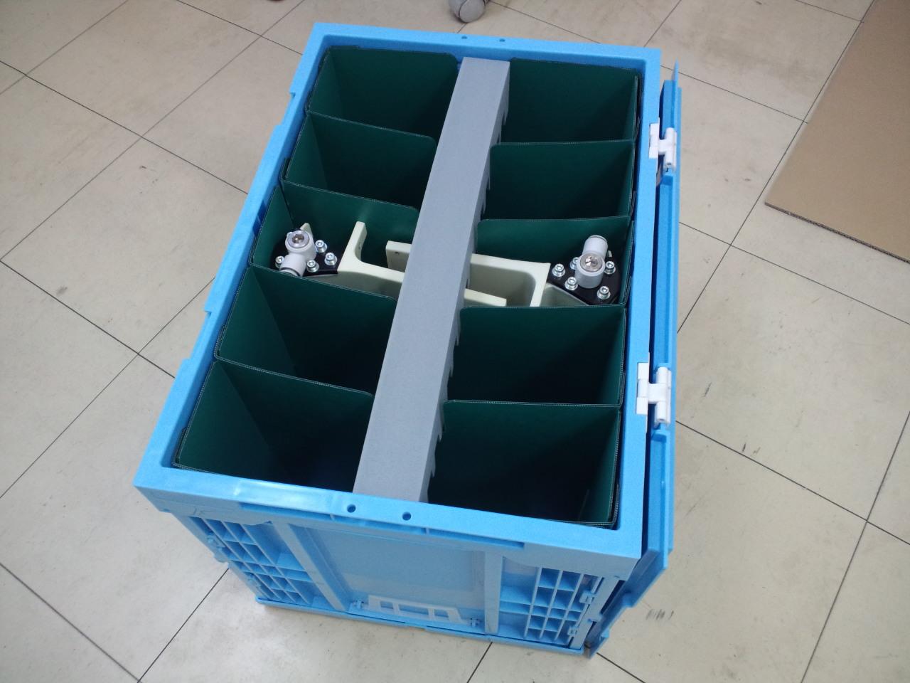 「ノズルエアホース用の通い箱 収納効率化・梱包改善提案事例」の画像